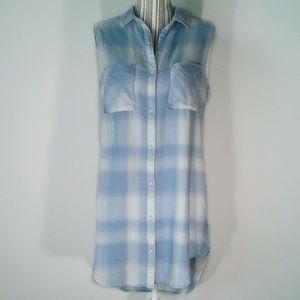 Cloth & Stone tunic dress duster blue white L